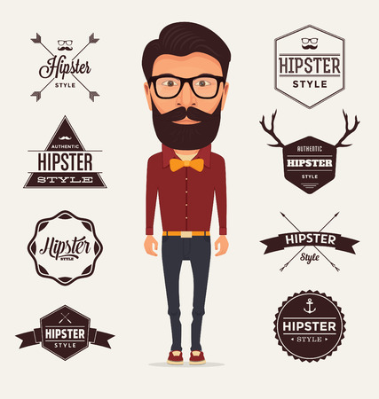 hipster: Hipster Style Character with Trendy Typographic Design Elements  Illustration of a typical bearded Hipster with full outfit wearing a red shirt orange bow and dark trousers on a light background