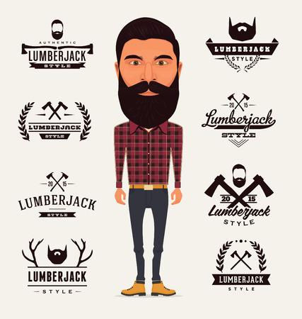 Lumberjack Character with Trendy Typographic Elements Vector