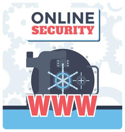 security technology: Information technology online security flat design illustration