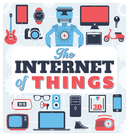 exchanging: The Internet of Things  illustrated network of physical objects embedded with electronics software sensors and connectivity to enable it to achieve greater value and service by exchanging data