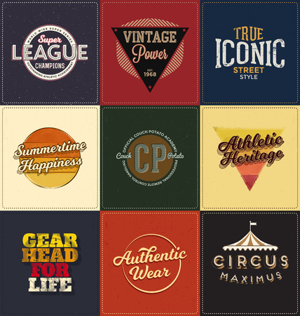 screen print: Vintage Design Collection - Retro Typographic Design Set - Classic look ideal for screen print shirt design Vettoriali