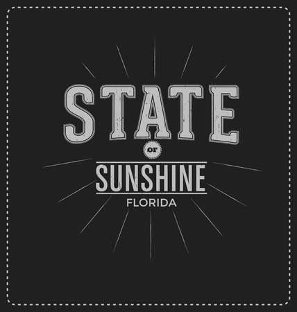 sunshine state: State of Sunshine - Florida - Typographic Design - Classic look ideal for screen print shirt design