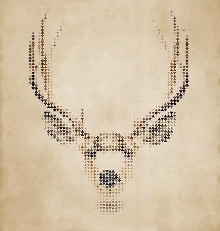 geometrical shapes: Deer portrait made of geometrical shapes - Vintage Design