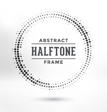 greyscale: Abstract Halftone Circle Frame - Greyscale Design Illustration