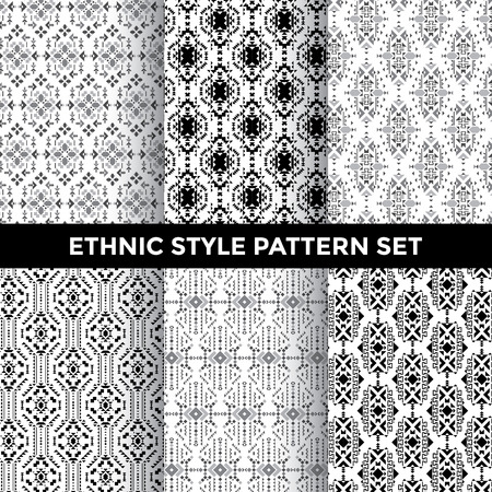 vector pattern: Ethnic Style Pattern Set - Collection of Six Beautiful Pattern Designs on White Background