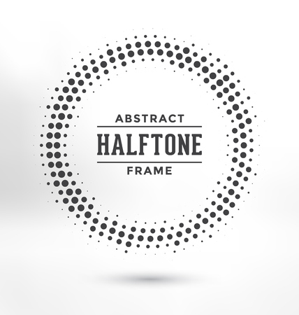 vector raster background: Abstract Halftone Circle Frame - Greyscale Design Illustration