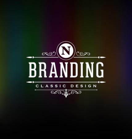 Kalligrafische Label Design Template - Classic Ornamental Style. Elegante luxe frame met typografie - Ideaal logo voor restaurant, hotel, cafe en andere bedrijven met klassieke huisstijl visuele Stock Illustratie
