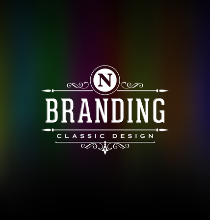 Calligraphic Label Design Template - Classic Ornamental Style. Elegant luxury frame with typography - Ideal logo for restaurant, hotel, cafe and other businesses with classic corporate identity visual Vectores