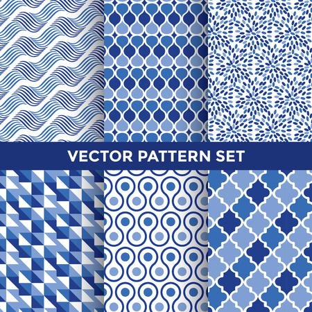 elegant wallpaper: Universal Vector Pattern Set - Collection of Six Blue Pattern Designs on White Background