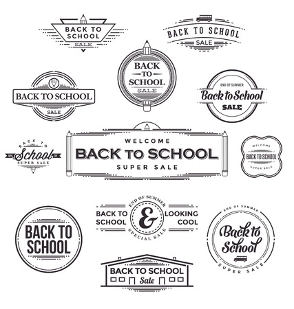 back to back: Back to School Calligraphic Designs - Retro Style Elements - Vintage Ornaments - Sale, Clearance Collection - Vector Set