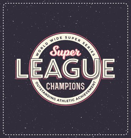 screen print: Super League Champions - Typographic Design - Classic look ideal for screen print shirt design