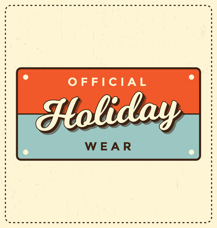 official wear: Official Holiday Wear - Number Plate Style Typographic Design - Classic look ideal for screen print shirt design