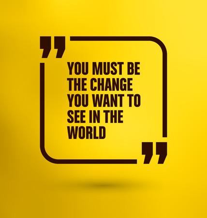 世界で見たい変更をする必要があります黄色の背景 - 引用フレーム  イラスト・ベクター素材