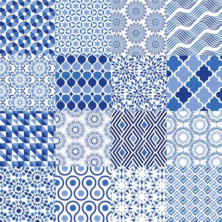 Universele Vectorpatroonreeks - Kan als gemengde patroonachtergrond worden gebruikt Stock Illustratie