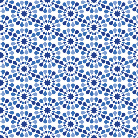 Blue Flower Pattern - Modern floral texture - Stylish abstract background