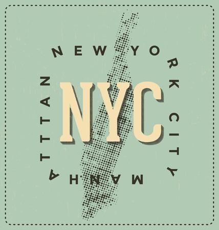 screen print: New York City, Manhattan - NYC - Typographic Design - Classic look ideal for screen print shirt design