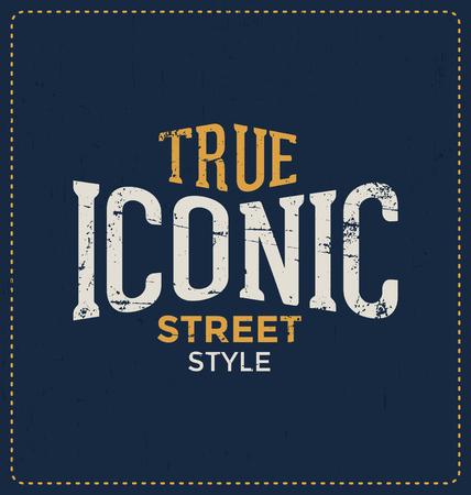 screen print: Vero stile iconico Street - design tipografico - Look classico ideale per la camicia di stampa schermo disegno Vettoriali