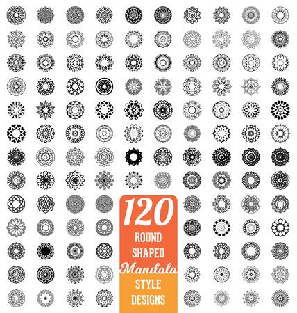 tatouage fleur: 120 Round collection de conception de style en forme de mandala - m�ga ensemble d'�l�ments ornementaux calligraphiques