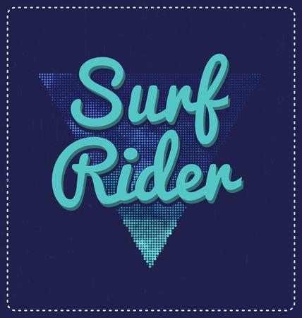 screen print: Surf Rider - Blu tipografico Design - Look classico ideale per la camicia di stampa schermo disegno