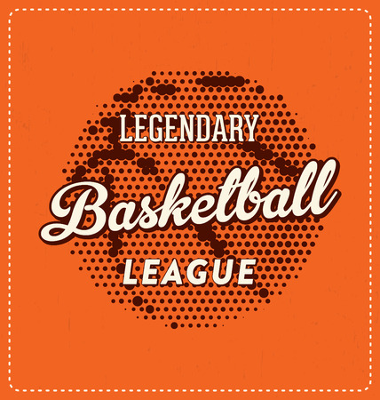 basket embroidery: Legendary Basketball League - Typographic Design - Classic look ideal for screen print shirt design