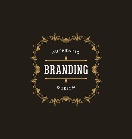 feminine background: Calligraphic Label Design Template - Classic Ornamental Style. Elegant luxury frame with typography - Ideal logo for restaurant, hotel, cafe and other businesses with classic corporate identity visual Illustration