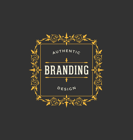 logo letter: Calligraphic Label Design Template - Classic Ornamental Style. Elegant luxury frame with typography - Ideal logo for restaurant, hotel, cafe and other businesses with classic corporate identity visual Illustration