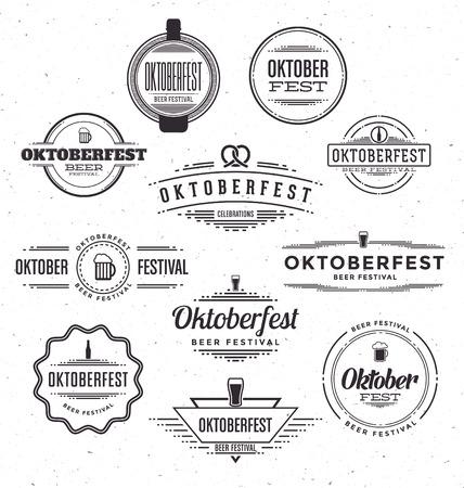 オクトーバーフェスト ビール祭り祭典レトロな文字体裁デザイン テンプレート - 織り目加工のビンテージ スタイルの背景のセット  イラスト・ベクター素材