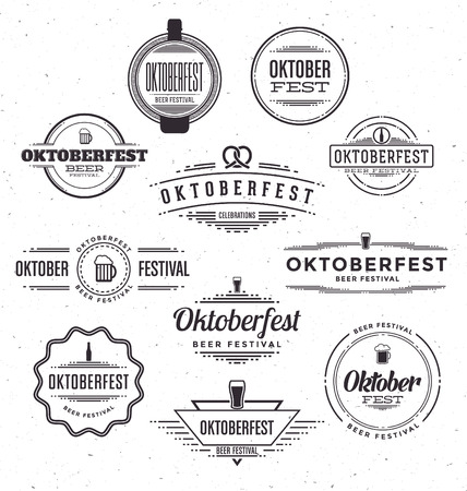Set of Oktoberfest beer festival celebration retro typographic design templates - Textured vintage style background Çizim