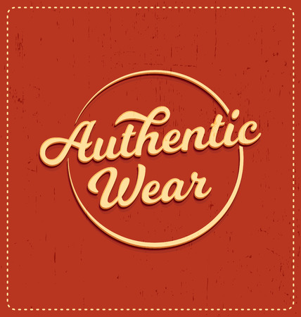 screen print: Authentic Wear - Typographic Design - Classic look ideal for screen print shirt design