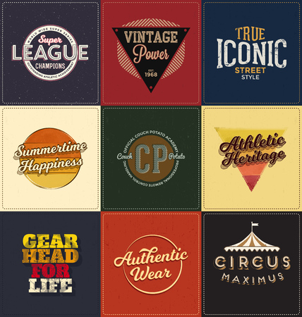 retro grunge: Vintage Design Collection - Retro Typographic Design Set - Classic look ideal for screen print shirt design Illustration