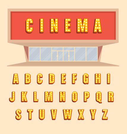 letras de oro: Estilo volumétrica letras Retro cartel con bombillas - iluminaron letras 3d marquesina Vintage alfabeto completo con la sombra - ilustración uso cine Vectores