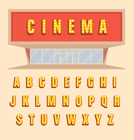 showtime: Retro style volumetric signboard letters with light bulbs - Vintage 3d marquee lit up letters full alphabet with shadow - cinema usage illustration