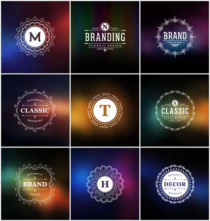 classic style: Set of Calligraphic Label Design Templates - Classic Ornamental Style. Elegant frame and typography on stylish colorful background - Ideal logos for any business with classic corporate identity visual