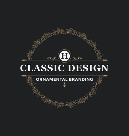 Calligraphic Label Design Template - Classic Ornamental Style. Elegant luxury frame with typography - Ideal logo for restaurant, hotel, cafe and other businesses with classic corporate identity visual Ilustracja