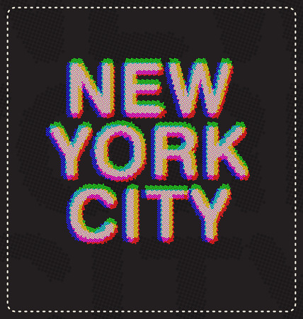 screen type: New York City typographic design ideal for print screen shirts - Type made out of small dots creating a blurry 3D image like effect
