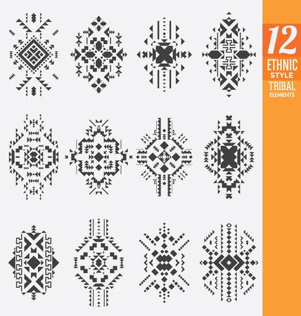 tribales: Elementos tribales estilo étnico Set - Una colección de 12 adornos geométricos aislados - Útil como adornos o textura de fondo
