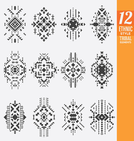 Ethnic Style Tribal Elements Set - A collection of 12 isolated geometrical ornaments - Useful as background ornaments or texture