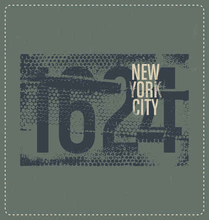 screen print: New York City 1624 - Typographic Design - Classic look ideal for screen print shirt design