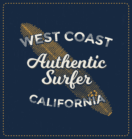 screen print: West Coast Authentic Surfer - Typographic Design - Classic look ideal for screen print shirt design