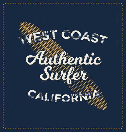 coast: West Coast Authentic Surfer - Typographic Design - Classic look ideal for screen print shirt design