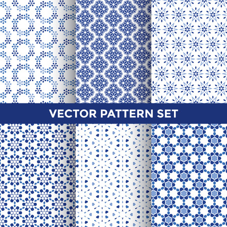tile pattern: Universal Vector Pattern Set - Collection of Six Blue Pattern Designs on White Background