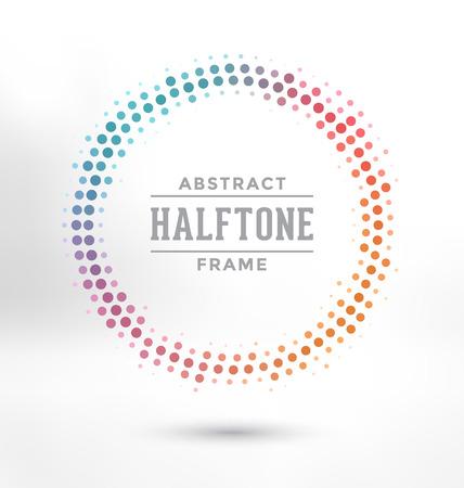ハーフトーン サークル フレーム - カラフルなデザインを抽象化します。