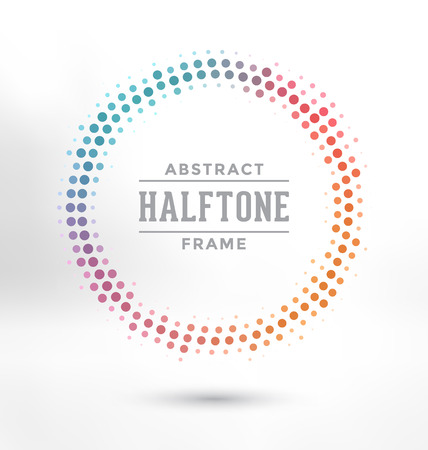 vector raster background: Abstract Halftone Circle Frame - Colorful Design