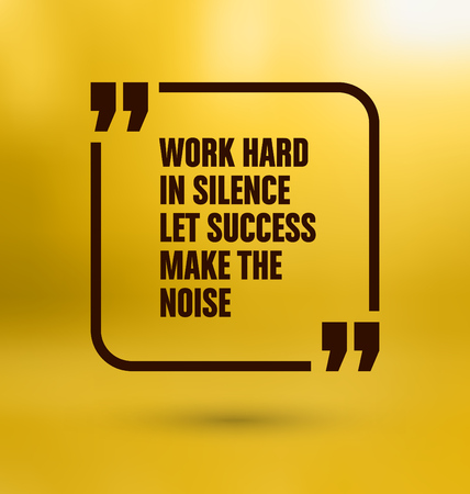 Framed Quote on Yellow Background - Work hard in silence let success make the noise