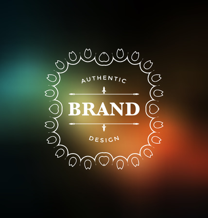 elegant design: Calligraphic Label Design Template - Classic Ornamental Style. Elegant frame and typography on colorful background - Ideal logo for any business with classic corporate identity visual