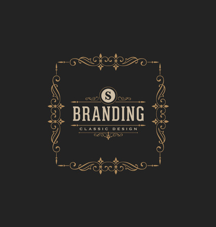 brand: Calligraphic Label Design Template - Classic Ornamental Style. Elegant luxury frame with typography - Ideal logo for restaurant, hotel, cafe and other businesses with classic corporate identity visual Illustration