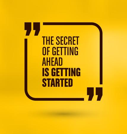 Omlijst Quote op gele achtergrond - Het geheim van om vooruit te komen is begonnen Stock Illustratie