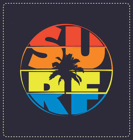 サーフィン - タイポグラフィ デザイン - 古典的な一見スクリーン印刷の t シャツ デザインに最適