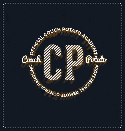 couch potato: Official Couch Potato Academy - Typographic Design - Classic look ideal for screen print shirt design Illustration