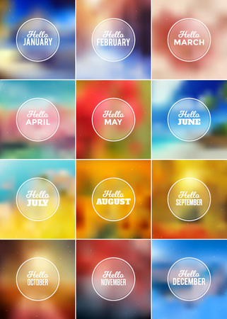 Hello Months Set - Typographic Greeting Card Design Collection - Colorful Blurred Backgrounds with white texts